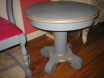 grey empire table with gold trim in St. Charles, Illinois