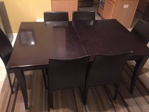 Espresso dining table and chairs in Bolingbrook, Illinois
