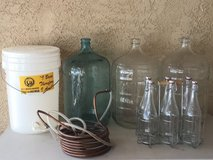 Bottles, home brew equipment in Yucca Valley, California