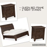 Queen Bed Frame and 2 Night Stands in Vacaville, California
