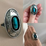 Silver turquoise ring sz 8 in Bartlett, Illinois