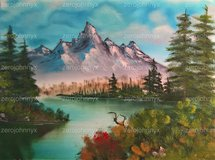Calm Lake by the Mountain - Bob Ross Inspired in Lackland AFB, Texas