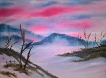 Snow Sunset - Bob Ross Inspired 18x24 in Lackland AFB, Texas