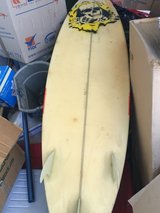 "mike Richards surfboard 6'1""/ good condition/with leash and tail traction pad in Yucca Valley, California"