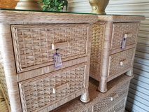 Off-white Distressed Wicker Glass Topped Nightstand in Camp Lejeune, North Carolina