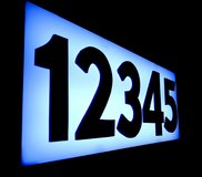 Luminous back-lit address number box with custom acrylic 3d letters in Yucca Valley, California