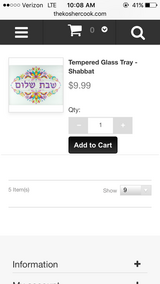 Shabbat tempered glass tray in Macon, Georgia
