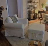 EKTORP Armchair and ottoman with white slip covers in Stuttgart, GE