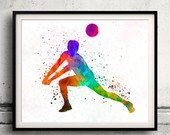 Volleyball watercolor print in Yorkville, Illinois