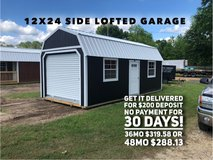 12x24 Side Lofted Garage in DeRidder, Louisiana