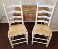 COUNTRY FRENCH DROP LEAF TABLE & TWO WICKER CHAIRS in Las Vegas, Nevada