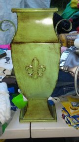 Green Metal Fleur De Lis Vase in Conroe, Texas