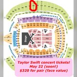 2 Taylor Swift tickets! Seattle May 22! Section 308, Row J. $320 pair! in Fort Lewis, Washington