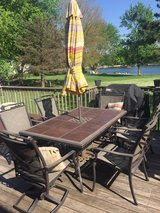 patio set, umbrella, decor pillows in Wheaton, Illinois