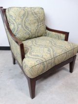 Large Vintage Wood Framed Cushioned Chair in Pearland, Texas