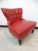 Red Doublewide Studded Faux Leather Chair in Pearland, Texas