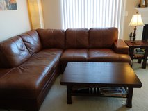 L-shape Sofa & Coffee Table & Side Table (Brown) in Schaumburg, Illinois