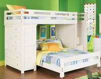 6-piece White Step Bunk Bed with Chest in Fort Bliss, Texas