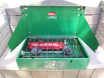 New Vintage Wide Coleman 2 Burner Camping Stove 413F499 Liquid Fuel *READ* in Travis AFB, California