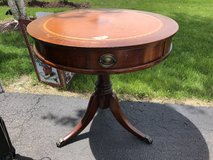 Antique round entrance table in Yorkville, Illinois