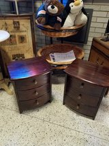 (2) Solid Dark wood small 2 drawer night stand tables in Naperville, Illinois