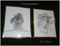 Abstract pencil paintings, framed in Ramstein, Germany