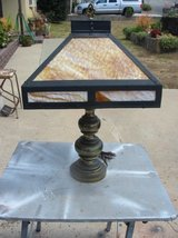 Vintage Brass Lamp With Slag Glass Shade in Vista, California
