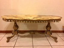 French Vintage Marble Top Coffee Table / Cocktail Table with Rococo Brass Legs in Ramstein, Germany