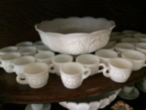 milk glass punch bowl w/ 25 serving cups in Macon, Georgia