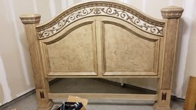 KING BED HEADBOARD - Cordoba Antiguo Blanco Bed Wynwood Furniture in Vacaville, California