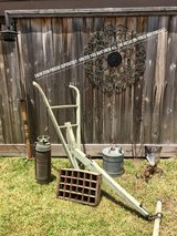 Antique Plow, Tools, Gas Can, Soda POP Crate, Fire Extinguisher, Birdhouse Spindle PRICED SEPERA... in CyFair, Texas