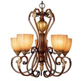 Hamptom Bay Chateau Deville 5-Light Walnut Chandelier with Champagne Glass Shades in Wheaton, Illinois