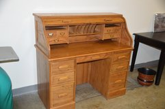 Smaller All Oak  Roll Top Desk. in Fort Lewis, Washington