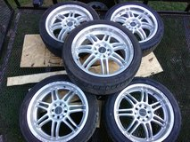 Set of 5, 17in wheels+ new tires in Fort Campbell, Kentucky