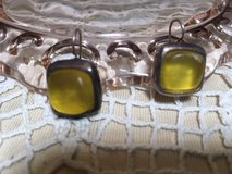 Vintage Earrings Large Citrine Colored Stone Silver Setting NJD on Back in Houston, Texas
