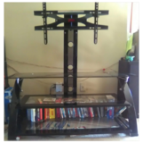 TV Stand TV mount w/3 glass shelves in Bellaire, Texas