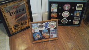 Bar Mirror / Framed Pictures  Beer Coasters & Beer Bottle Caps Assembled by Crafter in St. Charles, Illinois
