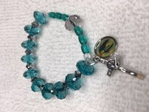 Rosary Bracelet Black Green Colored Beads with Smoke Grey Pater Bead Stretch Silver Crucifix Ful... in Kingwood, Texas