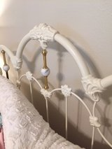 White Iron Headboard, Bed Frame, and Mattress Set in Conroe, Texas