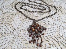 Vintage Pendant on Vintage Chain Cross with Brown Beads Antique Silver Great Condition Sturdy in Kingwood, Texas