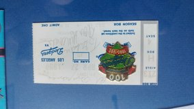 Dodgers pendant with autographed ticket in Camp Pendleton, California