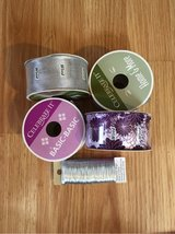 4 Spools of Wired Ribbon, 2 purple & 2 silver, and Florist Wire in Wheaton, Illinois