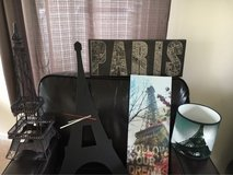 PARIS bundle, Eiffel Tower clock, lamp shade, wall art... in Morris, Illinois