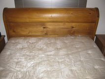 Vintage Mid-Century Queen-Sized Hardwood Sleigh Bed in Nellis AFB, Nevada