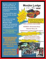 Monitor Lodge Car Show in Fort Eustis, Virginia