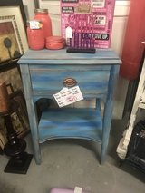 Blue bohemian style end table with lined drawer in Camp Lejeune, North Carolina