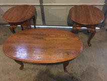 Solid oak coffee and end tables in Fort Campbell, Kentucky