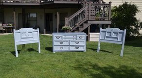 Dresser and pair of matching twin or king  headboards sold separete. Gray on gray in Morris, Illinois