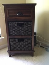 TABLE WITH TOP DRAWER + 2 WICKER DRAWERS in Great Lakes, Illinois