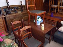 Gate Lagg Drop Leaf Table and Four Roseback Chairs in Fort Riley, Kansas
